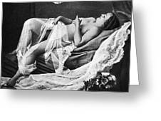 Reclining Nude With Bird Greeting Card