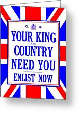 Recruiting Poster - Britain - King And Country Greeting Card