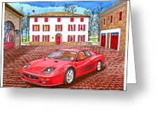 Enzo Ferrari S Garage With 1995 Ferrari 512m Greeting Card
