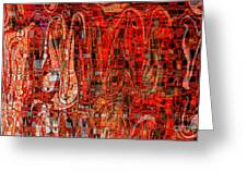 Red Abstract Panel Greeting Card by Carol Groenen
