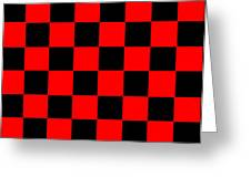 Red And Black Checkered Flag Greeting Card