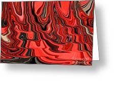 Red And Black Flowing Abstract Greeting Card