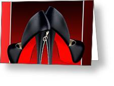 Red And Black High Heel Shoes Greeting Card