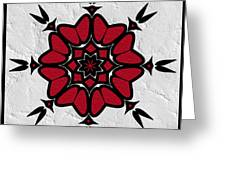 Red And Black On White Greeting Card
