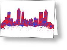 Red And Blue Art Print Of The Skyline Of Atlanta Georgia Usa Greeting Card