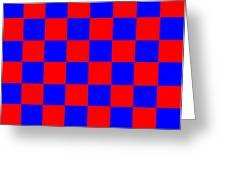 Red And Blue Checkered Flag Greeting Card