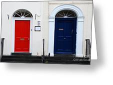 Red And Blue Doors Greeting Card