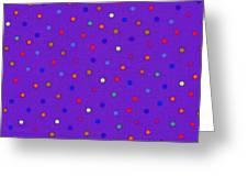 Red And Blue Polka Dots On Purple Fabric Background Greeting Card