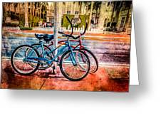 Red And Blue Rides Greeting Card