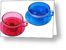Red And Blue Teacups. Greeting Card