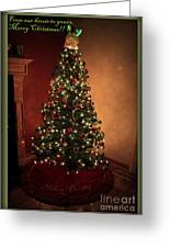 Red And Gold Christmas Tree With Caption Greeting Card