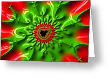 Red And Green Abstract Fractal Art Greeting Card