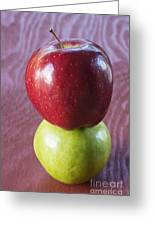 Red And Green Apples Greeting Card