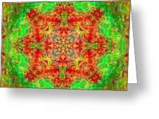 Red And Green Sun Mandala Greeting Card