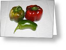 Red And Green Peppers Greeting Card