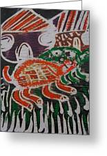 Red And Green Tortoise On Their Way To Bush Greeting Card