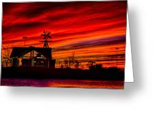 Red And Orange Sky Greeting Card