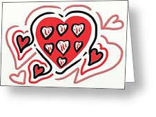 Red And Pink Hearts 2 Greeting Card