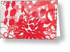 Red And White Bouquet- Abstract Floral Painting Greeting Card