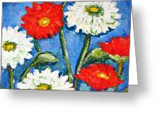 Red And White Flowers With A Blue Sky Greeting Card