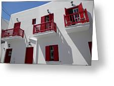 Red And White In Mykonos Greeting Card