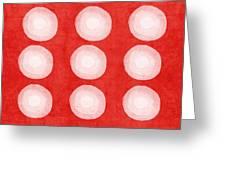 Red And White Shibori Circles Greeting Card