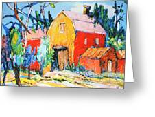 Red And Yellow Barn Greeting Card