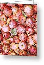Red Apples With Green Leaf Greeting Card