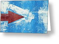 Red Arrow Painted On Blue Wall Greeting Card