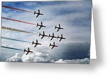 Red Arrows In Typhoon Formation Greeting Card