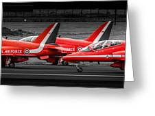 Red Arrows Threesome Take-off Greeting Card
