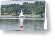 Red Ball Sailing Greeting Card
