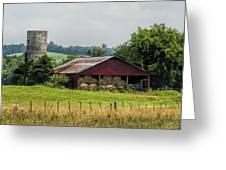 Red Barn And Bales Of Hay Greeting Card