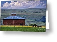 Red Barn And Barbed Wire Greeting Card