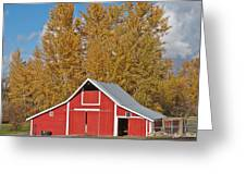 Red Barn And Fall Colors Greeting Card