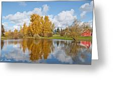 Red Barn And Fall Colors Reflected In A Pond Greeting Card