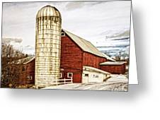 Red Barn And Silo Vermont Greeting Card