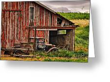 Red Barn And Truck In The Palouse Greeting Card