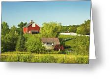Red Barn And Water Mill On Farm In Maine Greeting Card