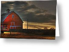 Red Barn At Dawn Greeting Card