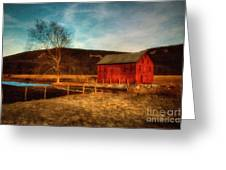Red Barn At Twilight Greeting Card
