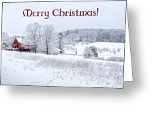 Red Barn Christmas Card Greeting Card