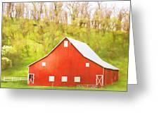 Red Barn Green Hillside Greeting Card