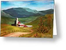Red Barn Hillside Farm Greeting Card