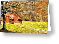 Red Barn In Late Fall Greeting Card