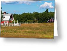 Red Barn In Meadow, Knowlton, Quebec Greeting Card