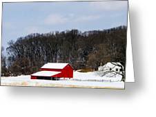 Red Barn In The Snow Greeting Card