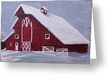 Red Barn Greeting Card by Kathy Weidner