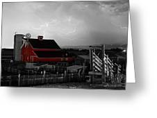 Red Barn On The Farm And Lightning Thunderstorm Bwsc Greeting Card by James BO  Insogna