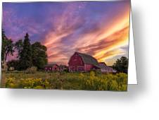 Red Barn Sunset 2 Greeting Card